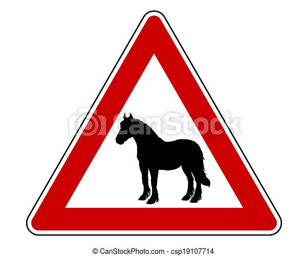 Pferdewarnung. - csp19107714