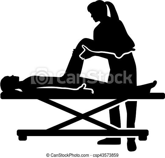 Physiotherapeutin hilft Patienten Silhouette. - csp43573859