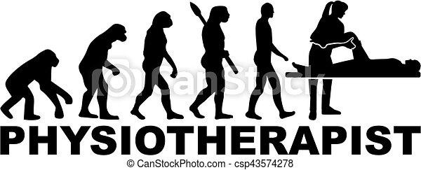 Physische Therapeuten Evolution mit Berufstitel. - csp43574278