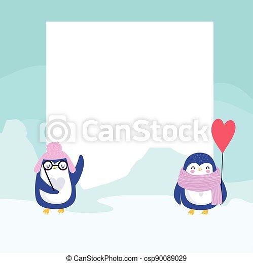 pinguine, banner, winter - csp90089029