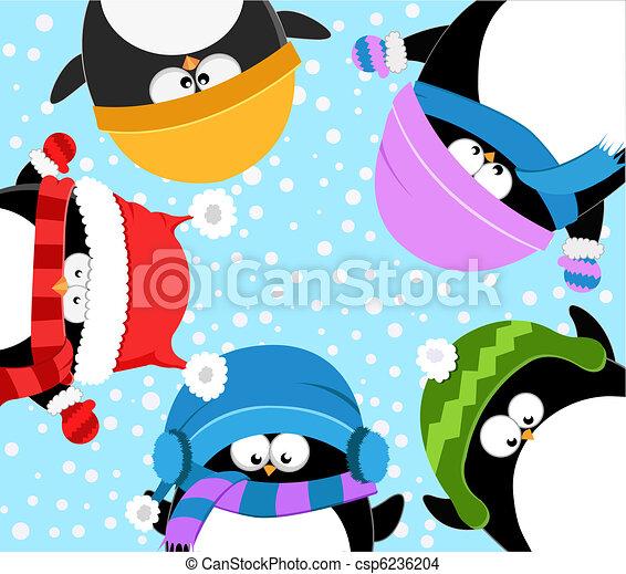 Pinguine feiern den Winter - csp6236204