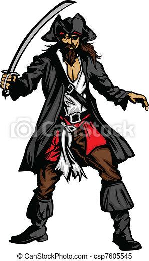 pirat, schwert, maskottchen, stehende  - csp7605545