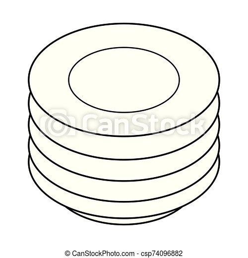 platten, abbildung, stapel, white., schwarz, vektor - csp74096882
