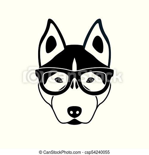 Portrait von husky Hund mit Brille, schwarz und weiß Wohnung Stil. - csp54240055