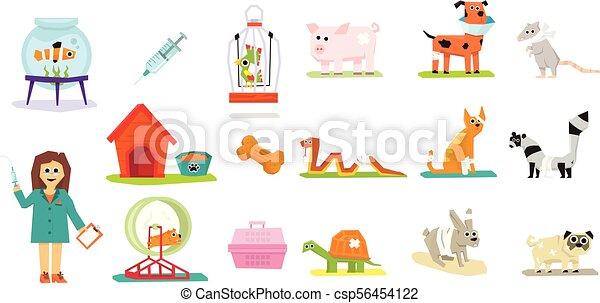 Professionelle Tierärzte und Haustiere Set, Veterinärmedizin-Vektor Illustrations auf weißem Hintergrund. - csp56454122
