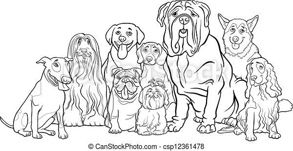 Reinrassige Hunde-Gruppen-Zeichen fürs Farben - csp12361478
