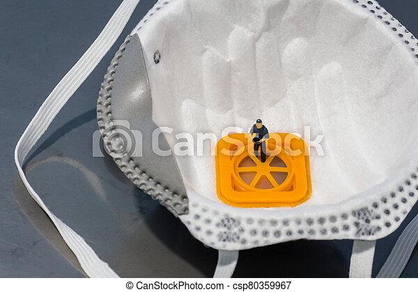 qualität, mannschaft, kontrolle, leute, :, maske, miniatur - csp80359967
