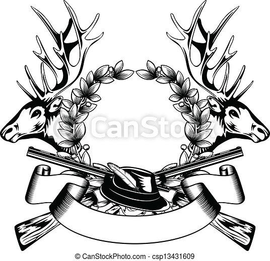 Jagdrahmen mit Hut - csp13431609