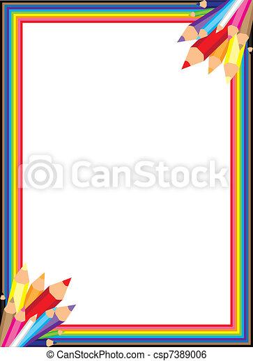 Rainbow Bleistift-Vektor-Grenze - csp7389006