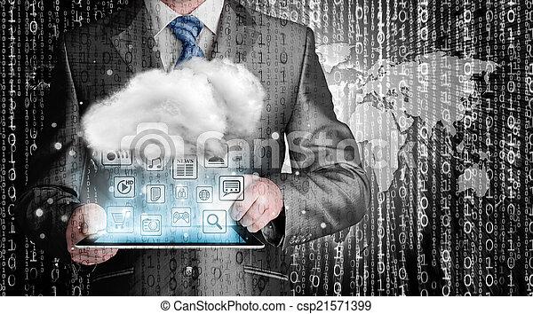 rechnen, begriff, technologie, wolke, konnektivität - csp21571399