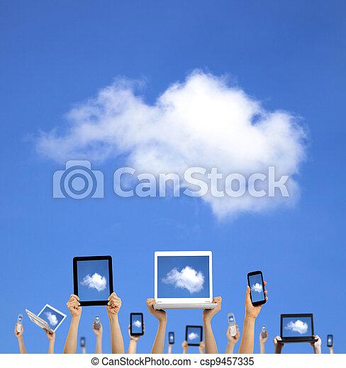 rechnen, wolke, halten hände, klug, tablette, berühren, concept., telefon, edv, laptop, polster - csp9457335