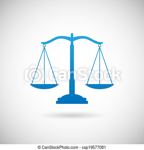 Rechtssymbol Gerechtigkeit skaliert Icon Design Vorlage auf grauem Hintergrund Vektor Illustration. - csp19577081