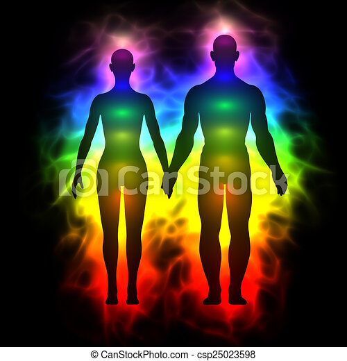 Rainbow Aura von Frau und Mann - csp25023598