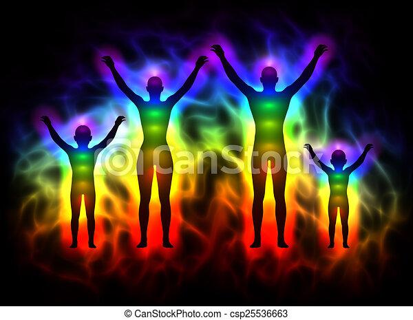 Rainbow Silhouette mit Aura und Chakras - Familie - csp25536663