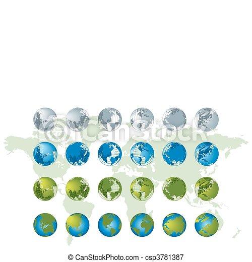 Weltkarte, 3D- Globus-Serie - csp3781387