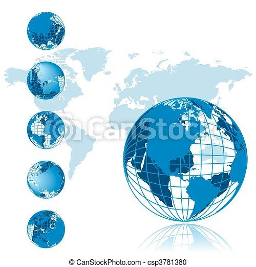 reihe, erdball, 3d, landkarte, welt - csp3781380