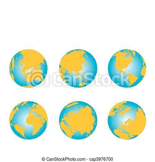 Weltkarte, 3D- Globus-Serie - csp3976700