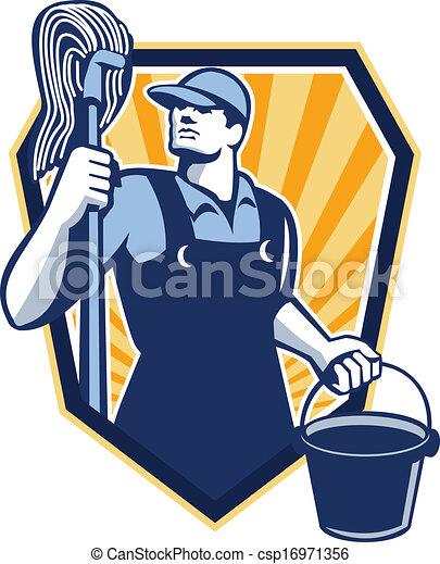 Hausmeisterreiniger halten den Mopp-Kübelschild Retro - csp16971356