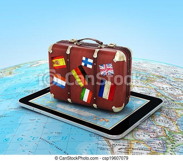 Reisekonzept. Koffer auf dem Tablet PC. - csp19607079