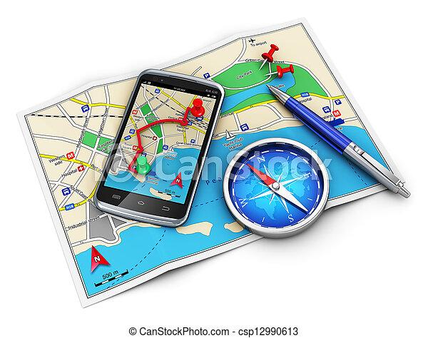 GPS-Navigation, Reisen und Tourismus cocnept - csp12990613