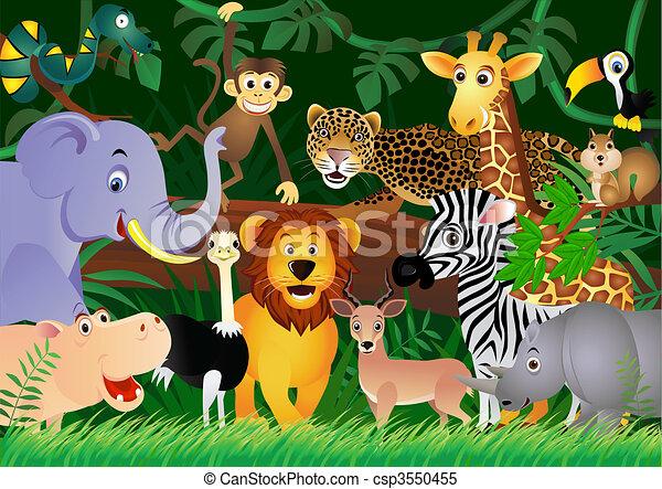 Süßer Tier Cartoon im Dschungel - csp3550455
