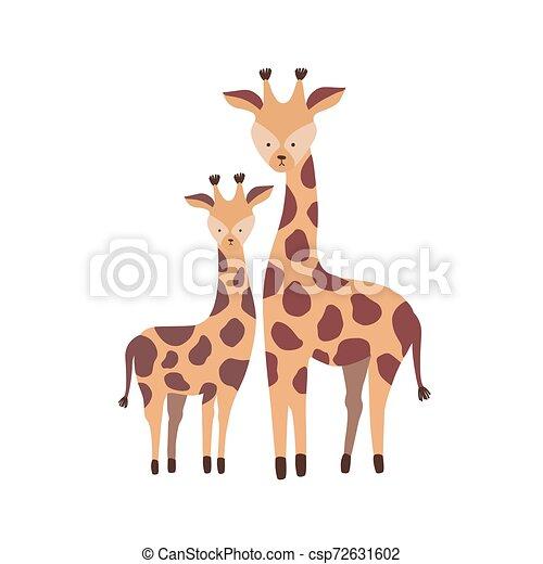 reizend, familie, savanne, freigestellt, sprössling, kindisch, pflanzenfressend, hintergrund., weißes kalb, baby., wohnung, elternteil, afrikanisch, animals., giraffe, kind, karikatur, illustration., vektor, mutter, wild, oder - csp72631602
