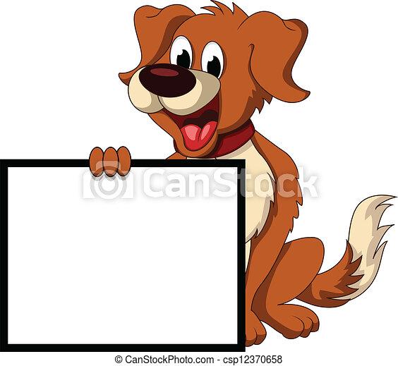 Süßer Hund Cartoon mit Platzpatronen - csp12370658