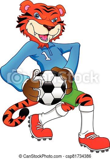 reizend, tiger, spielen fußballs - csp81734386