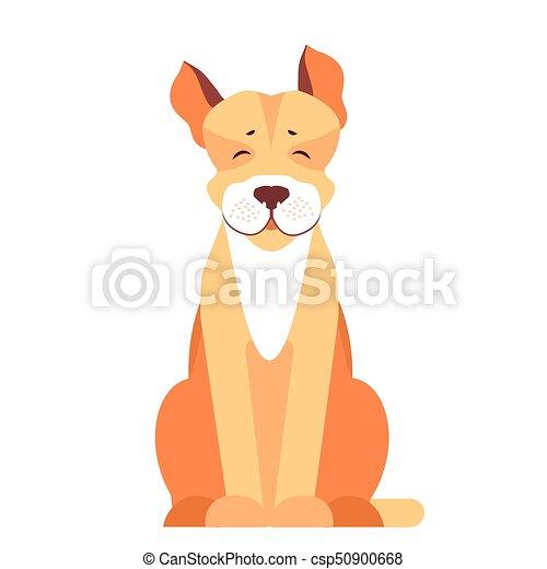 reizend, wohnung, hund, vektor, stier, grube, karikatur, ikone - csp50900668