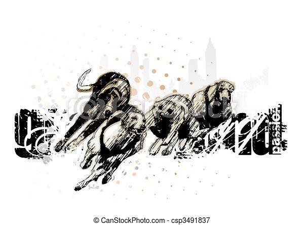 rennsport, jagdhund, grau - csp3491837