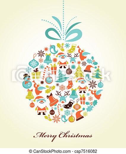 Retro Christmas Background mit dem Xmas-Ball - csp7516082