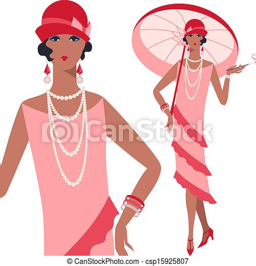 Retro, junges, wunderschönes Mädchen im Stil von 1920. - csp15925807