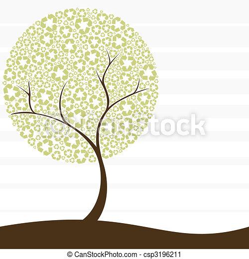 Retro Recycling-Baum-Konzept - csp3196211
