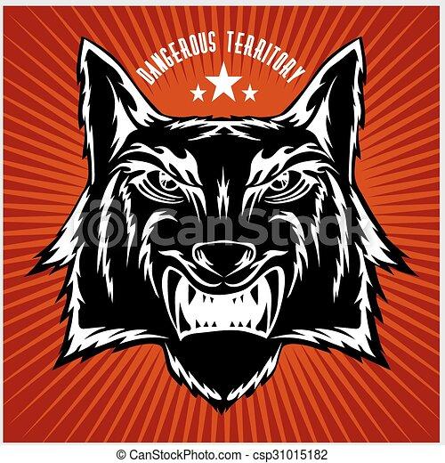 Retro Wolf Maskottchen mit Kopf. - csp31015182