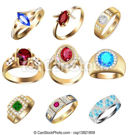 Ring mit wertvollen Steinen auf weiß - csp13821809
