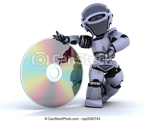 Roboter mit optischer Mediendiskette - csp3340743