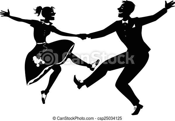 Rock and Roll tanzen Silhouette. - csp25034125