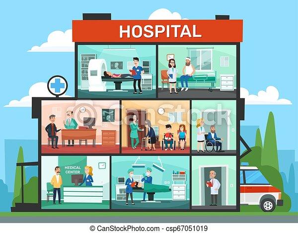 Medizinische Büroräume. Krankenhausgebäude, Notfall-Klinik Doktor Warteraum und Chirurgen Ärzte Cartoon Vektor Illustration - csp67051019