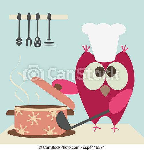 Süße Eule mit einem Bawl-Koch - csp4419571