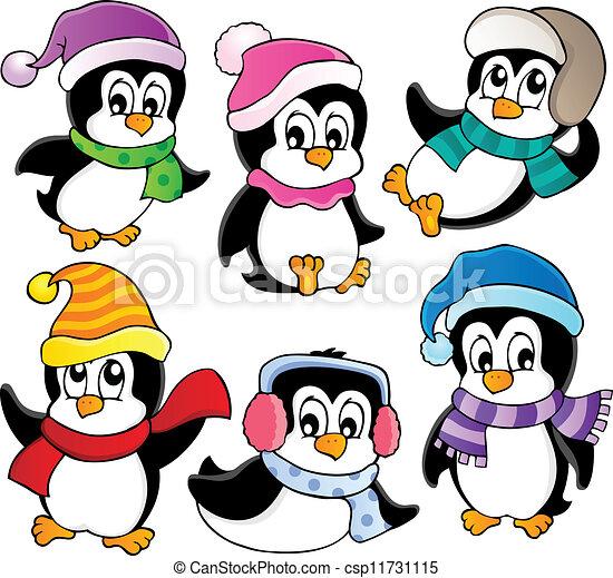 Süße Pinguine sammeln drei - csp11731115