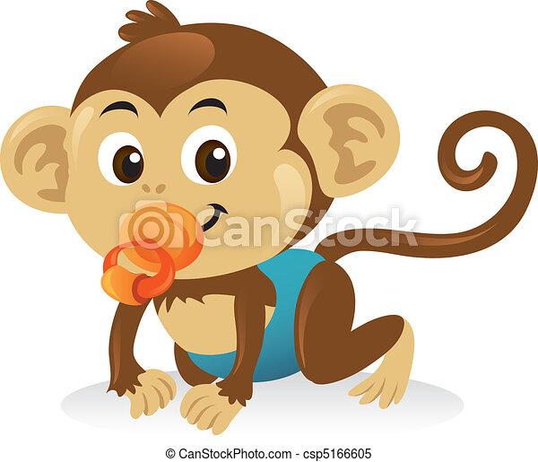 Süßer Babyaffe mit einem Schnuller in einer Kriech-Position. - csp5166605