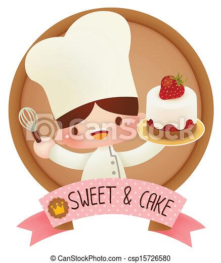 Süßer Cartoon-Chef - csp15726580