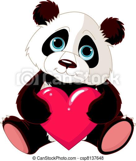 Süßer Panda mit Herz. - csp8137648