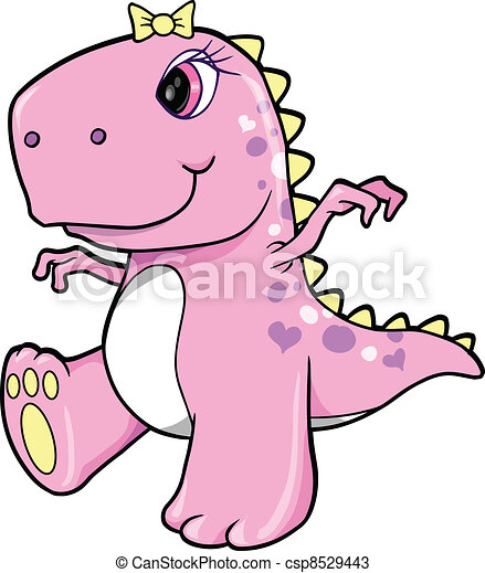 Süßes rosa Mädchen Dinosaurier-T-rex - csp8529443