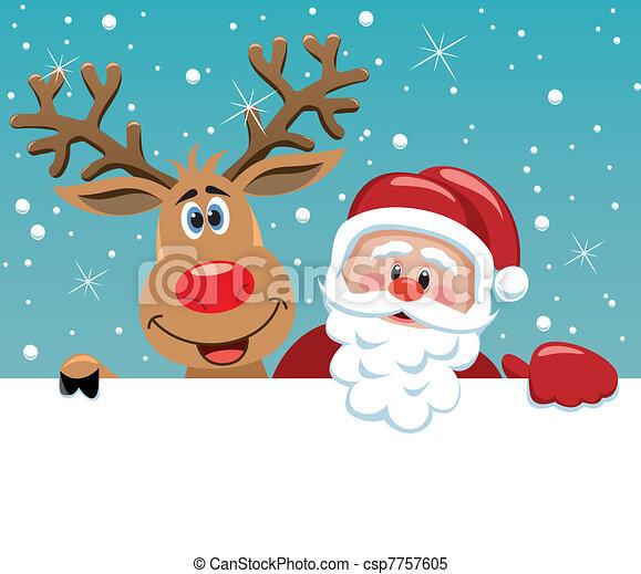 Santa Claus und rudolph Reh - csp7757605