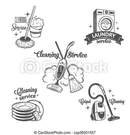 satz, logos, weinlese, etiketten, putzen, dienstleistungen, abzeichen - csp26501557