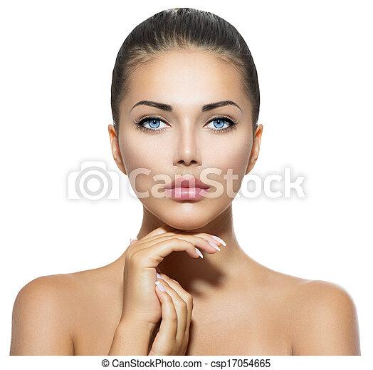 schöne frau, sie, schoenheit, gesicht, berühren, portrait., spa - csp17054665