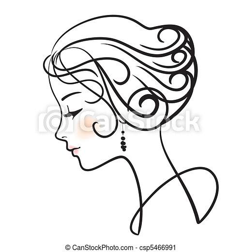 Schöne Frau sieht sich Vektor Illustration an - csp5466991
