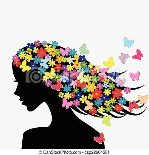 Schöne Frauenprofile mit Blumen und Schmetterlingen im Haar. - csp22604501