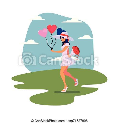 schöne , herzen, frau, luftballone - csp71637906